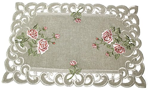 Doily Boutique Place Mat or Doily with a Pink Rose and Sage Green Burlap Linen Fabric, Size 27 x 13 inches