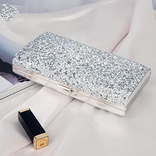 Pour De Bijou Partie Silver Sac Sac Soirée Cuir Messager Mode De Clubs Mariage PU De Sac De Les Sac Dames Embrayage Strass q7z6Anw