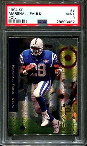 863f59ff8 1994 sp foil #3 MARSHALL FAULK indianapolis colts rookie card PSA 9 Graded  Card