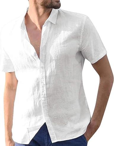 TUDUZ Camisetas Hombre Verano Manga Corta Algodón Y Lino Camisas Botón Tops Retro Color Sólido: Amazon.es: Ropa y accesorios