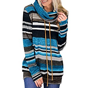 Asvivid Womens Color Block Striped Cowl Neck Sweatshirt Tops Lightweight Loose Pullovers Fashion Hoodie with Pocket S…