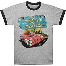 Bruce Springsteen Men's Pink Car Tin He Gy/Bk Ringer T Slim Fit T-Shirt Athletic Heather