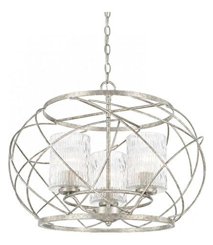 (Antique Silver Riviera 3 Light 1 Tier Chandelier)