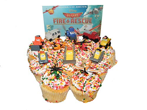 Disney Planes Fire and Rescue Movie Figure Deluxe Cake Toppers / Cupcake Party Decorations Set of 12 with Dusty, Blade Ranger, Smokejumpers and More! -