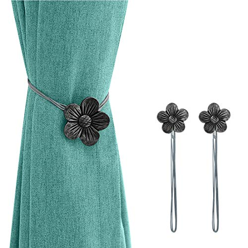 Lewondr Vintage Magnetic Curtain Tieback, 1 Pair Resin Flower Curtain Drapery Holdback Window CurtainDecorative Buckle Holder for Home Cafe Balcony - Ink (Tie Hardware Back)