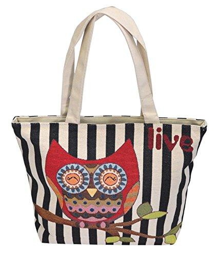 Borsetta borsa da spiaggia, shopping, importata da Tailandia, multicolore, motivi Gufi (42285)
