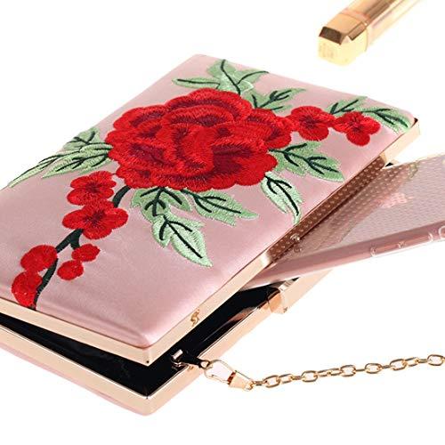 Color Main Rose Sac Main marée à à Pink Brillant Main à Pink Sac brodé Main Sac Fleur Main à KERVINZHANG Sac à Sac xnfwzwHR