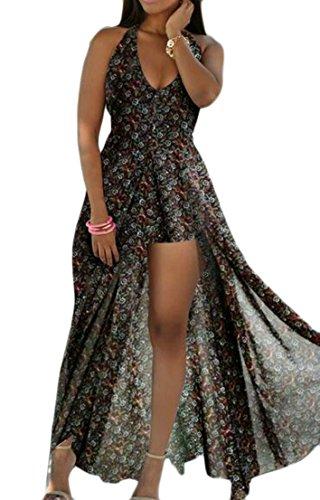 Coeur Mignon C & H Impression Licol Plage Mousseline De Soie Femmes Sexy V-cou Longue Robe De Black1