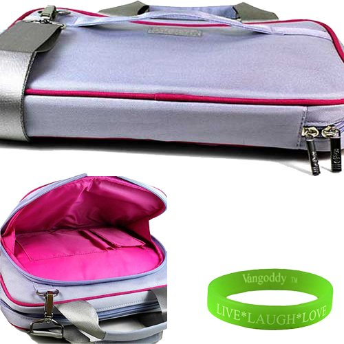 Stitched Pocket Hobo (Travel friendly 13 inch Lilac PURPLE with Pink trim Laptop Bag to fit your Lenovo IdeaPad U310 Ultrabook. Hand Handle and shoulder strap with interior laptop pocket to keep your computer in place + Vangoddy Live Laugh Love Bracelet.)