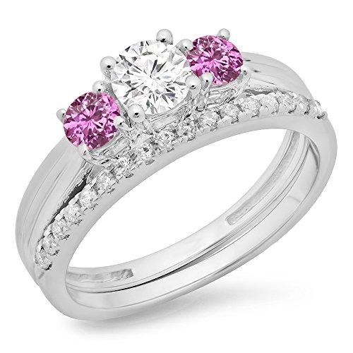 18K White Gold Pink Sapphire & White Diamond Bridal 3 Stone Engagement Ring Matching Band Set (Size 5) (Stone Diamond Pink Set)