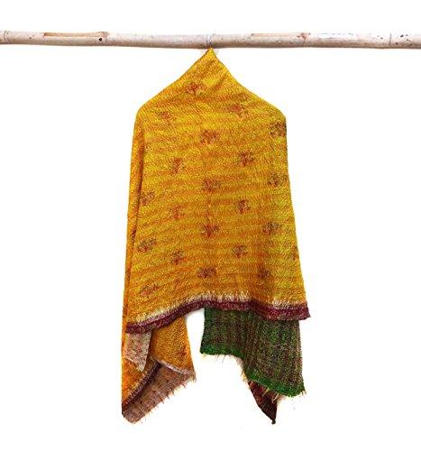 Silk Kantha Scarf Vintage Head Wrap Stole Dupatta Hand Quilted Women Bandanas