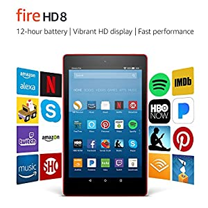 "Fire HD 8 Tablet with Alexa, 8"" HD Display, 16 GB, Punch Red - with Special Offers"