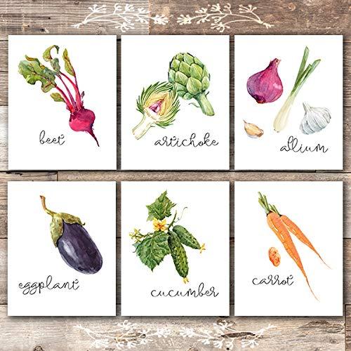 Kitchen Wall Decor Art Prints - Botanical Prints - (Set of 6) - Unframed - 8x10s