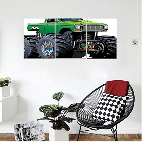 Liguo88 Custom canvas Cars Decor Wall Hanging Giant Monster Pickup Truck with Large Size Tires and Suspension Extreme Biggest Wheel Print Bedroom Living Room Decor Green Grey