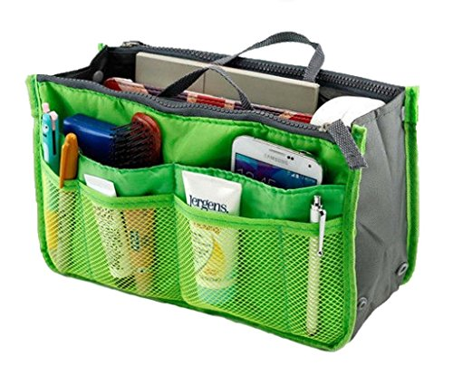 Lady Women Travel Insert Handbag Organiser Purse Large Liner Organizer Tidy Bag-Green