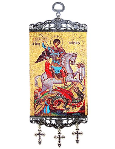 George Icon (Religious Gifts Saint St George Orthodox Icon Tapestry Banner With Three Bar Crosses 9 3/4 Inch)