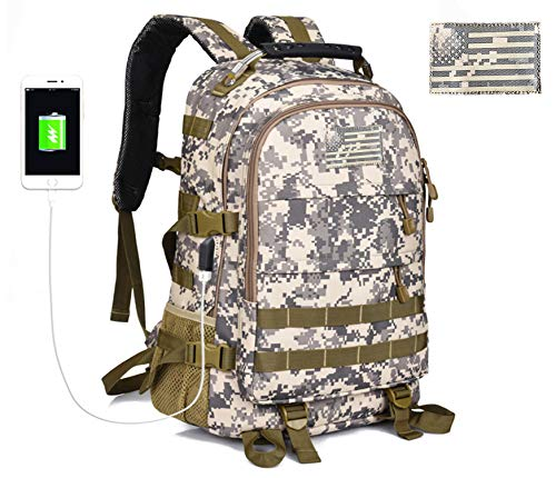 Military Tactical Backpack for Men Outdoor Hunting Backpack Travel Laptop Bag Assault Pack Army Molle Bug Out Rucksack w/USB Charging for Motorcycle, School, Survival, Hiking, Camping CAMO -