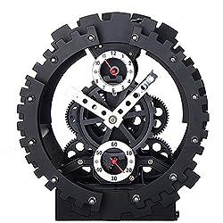 Metal Wheel Gear Alarm Clock ABS Quartz Gear Mechanical Quartz Alarm Clock Gift Home Decoration Fashion Dual Clock Desk Clock Wonderful Carved Double Gear Hollow Bell Alarm Clock Creative Decoration (black)