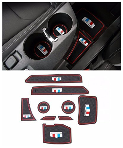 Dwindish 9 Pcs Door Groove Mat Interior Accessories Parts Rubber Silica Gel Cup Mat Pad For Chevrolet Camaro 2016 Up (Red)