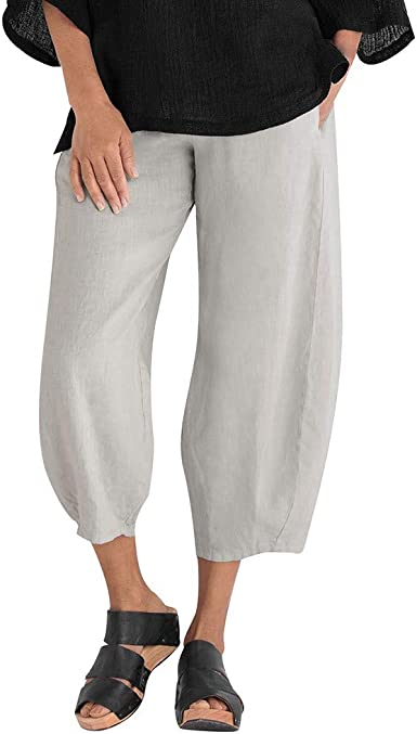 LILILICHIC_Pantalón de Color Puro de Mezcla de algodón con un pantalón Ancho, un pantalón de Cintura Baja para Mujer, Khaki/Black/Navy/Grey, Talla Grande, X-5XL Gris XXXL: Amazon.es: Ropa y accesorios