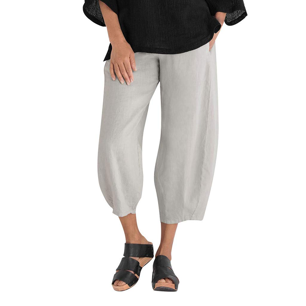 Haozin Women's Casual Loose Elastic Waist Cotton Trouser Cropped Wide Leg Palazzo Pants with Pockets