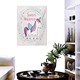 "cobeDecor Sweet Dreams Canvas Print Wall Art Cute Magical Unicorn with Hand Drawn Circles Dots and Stars Nursery Theme Customize Wall Stickers 32""x36"" Multicolor"