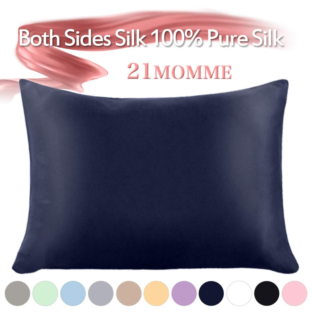 """Jaciu 100% Mulberry Silk Pillowcase Pure,21 Momme Both Side Real Silk Pillowcases Hidden Zippered Slip Silk Pillowcase Hypoallergenic Soft Breathable for Hair and Skin(Navy Blue, Queen: 20""""x30"""")"""