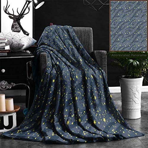 Nalagoo Unique Custom Flannel Blankets Seamless Pattern Of Many Bright Stars In The Night Sky Can Be Used For Wallpaper Textile Super Soft Blanketry for Bed Couch, Twin Size 60