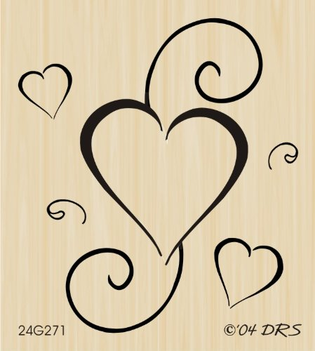 Hearts and Scrolls Rubber Stamp By DRS Designs - Swirl Heart Rubber Stamp