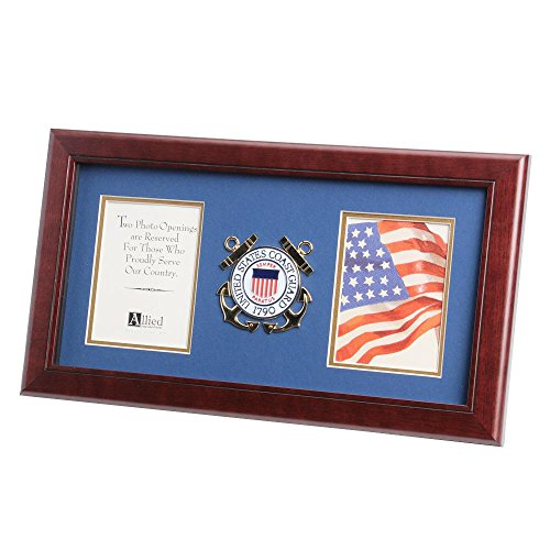 Coast Guard Photo Frame - Allied Frame US Coast Guard Medallion Double Picture Frame - Two 4 x 6 Photo Openings