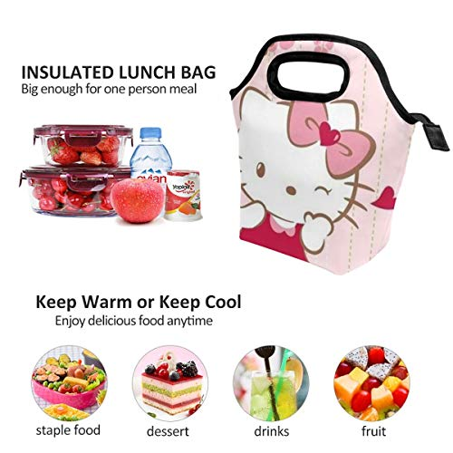 Lunch Bag Smile Hello Kitty Insulated Lunch Tote Boxes Cooler Bag For Adults Men Women Kids Boys Nurses Teens
