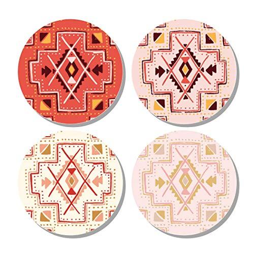 Dragonfruit Ceramic Coasters, 4 Pack, Bohemian Design, Cork Back, 4