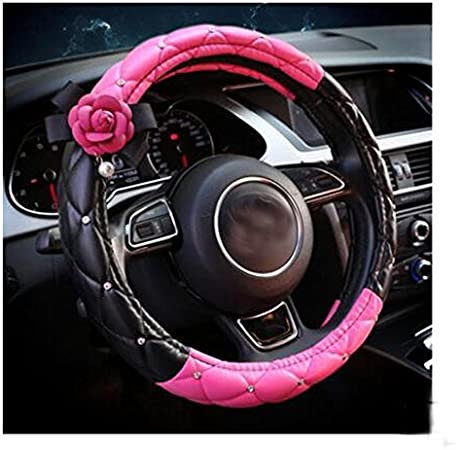 LuckySHD 15 Black Car Steering Wheel Cover with Pink Camellia Flowers Universal Breathable Anti-slip PU Leather Steering Wheel Sleeve Protector