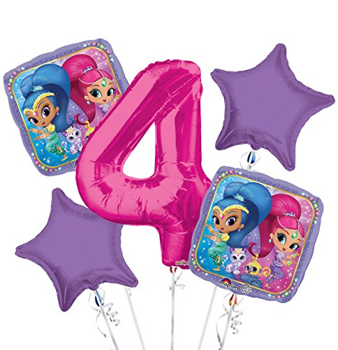 Shimmer and Shine Balloon Bouquet 4th Birthday 5 pcs - Party Supplies