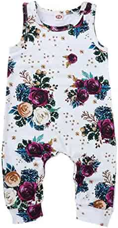 aa2df4b58 Newborn Baby Girl Floral Romper Jumpsuit Summer Sleeveless Strap Flower  Print Wide Leg Pants Bodysuit Outfits