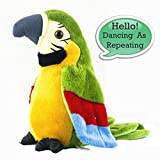 Electronic Stuffed Talking Plush Animals Pets Toys Parrot, Talking Parrot Electric Plush Cute Mimicry Pet Animal Repeating Toy Stuffed Animals Toys for Kids Boys Girls Toddlers 1 Pack AnyBack Green