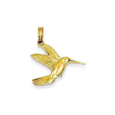 14k Yellow Gold Hummingbird In Flight Pendant 21x21mm