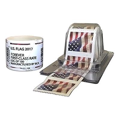 100 Forever Stamps - Sealed Rolls - Coil + Reusable Postage Dispenser - Keeper (100)