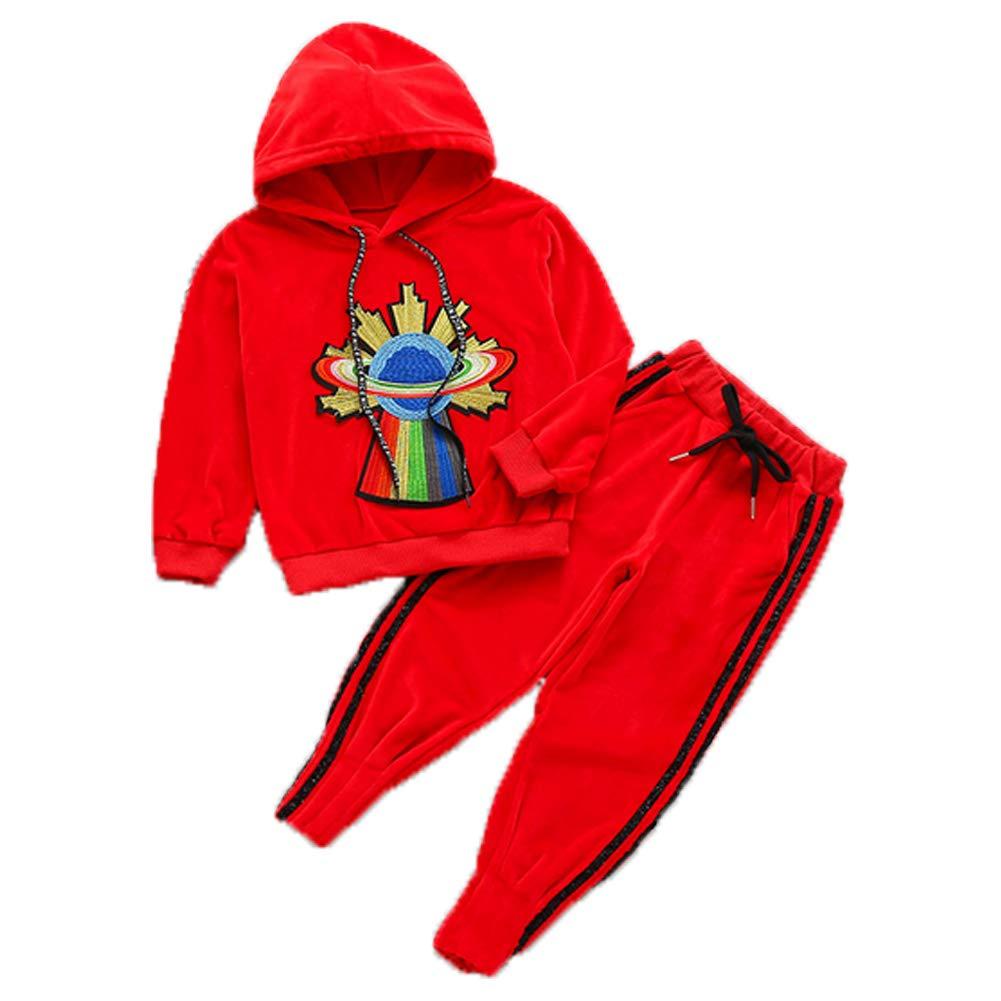 Kids Girls Warm 2psc Long Sleeve Hoodie Velour Sweatshirt Top + Jogger Pants Tracksuit Set