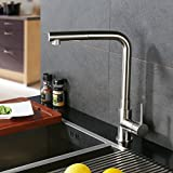 CREA Kitchen Faucet, Modern Brass Single Lever Pull Down Sprayer Kitchen Mixer Tap Pull Out Kitchen Sink Faucets Brushed Nickel