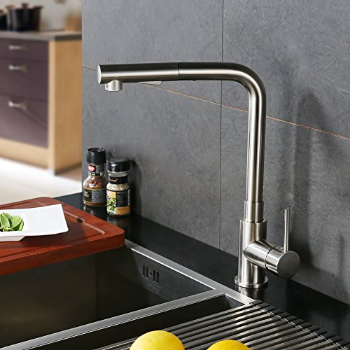 CREA Kitchen Faucet, Modern Brass Single Lever Pull Down Sprayer Kitchen Mixer Tap Pull Out Kitchen Sink Faucets Brushed Nickel (3/8 Inch Diverter Spout)
