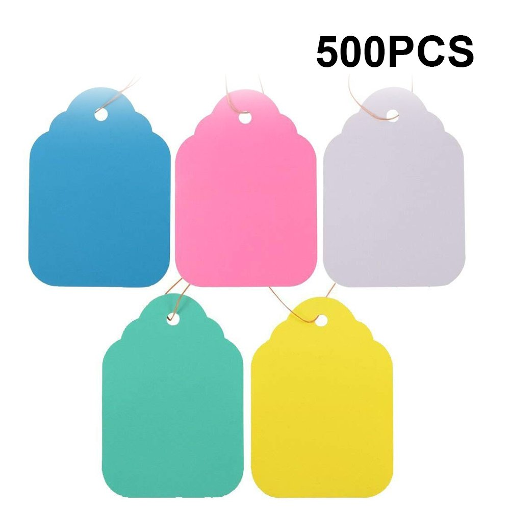 KINGLAKE 500 Pcs Plastic Plant Hanging Tags Colorful Garden Labels Tree Tags with String,5x7cm by KINGLAKE
