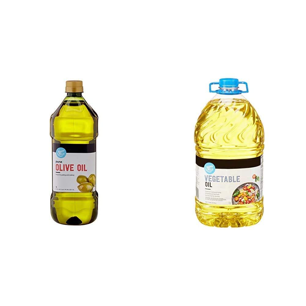 Amazon Brand - Happy Belly Pure Olive Oil, Mediterranean Blend, 51 Fl Oz & Happy Belly Vegetable Oil, 1 Gallon (128 Fl Oz)