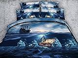 3D Pirate Kids Bedding Sets - Jameswish 2018 New Design Blue Sea Bed Sheet Great Comfortable 4-Piece Including 1Duvet Cover 1Flat Sheet 2Pillowshames King Queen Full Twin Size