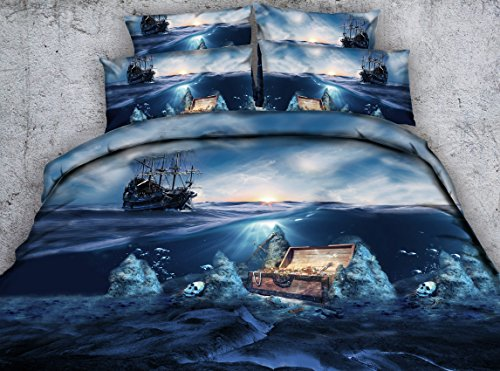 Jameswish 3D Blue Sea Skull Printed Bedding Set - 2017 New Design Treasure Adventure Bedspread Including 1Duvet Cover 1Flat Sheet 2Pillowshams Heavy-Duty King Queen Full Twin Size