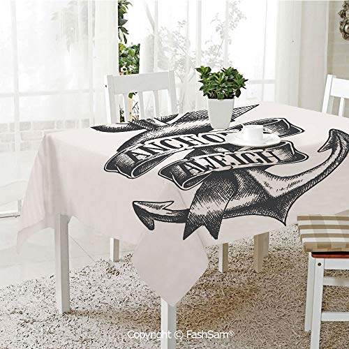 (FashSam Party Decorations Tablecloth Tattoo Style Old Navy Symbol Sketch with Ribbon and Vintage Lettering Insignia Decorative Dining Room Kitchen Rectangular Table Cover(W60)