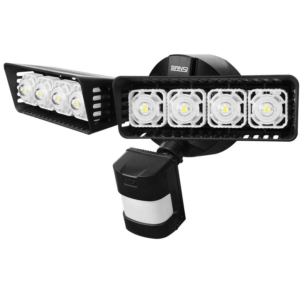 Upgraded SANSI LED Security Motion Sensor Outdoor Lights 30W 250W Incandescent Equivalent 3400lm 5000K Daylight Waterproof Floodlights Black