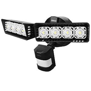 Upgraded SANSI LED Security Motion Sensor Outdoor Lights, 36W (250W Incandescent Equivalent) 3600lm, 5000K Daylight, Dusk to Dawn Waterproof, ETL Listed Floodlights, Black