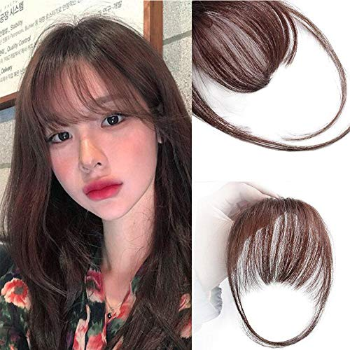 AISI QUEENS Clip in Bangs Human Hair Air Bangs Extensions One Piece Straight Air Fringe Hair Piece Accessories Bangs with Hair Temples(Red Brown) ()