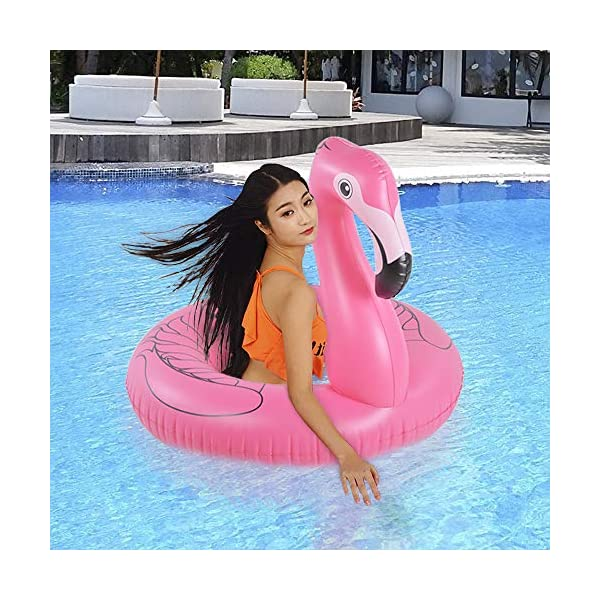 HIWENA Flamingo Float, Inflatable Flamingo Pool Float Tube for Party, 41 Inches Pink Flamingo Float, for Ages 9+ 5